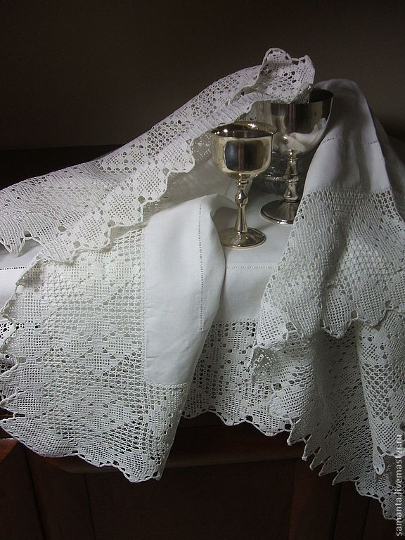 Vintage Interior Decor. Livemaster - handmade. Buy Vintage tablecloth with wide lace.Vintage, retro style, stylish accessories