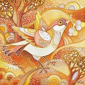 """Картины и панно ручной работы. Ярмарка Мастеров - ручная работа Батик """"Солнечная птица"""". Handmade."""