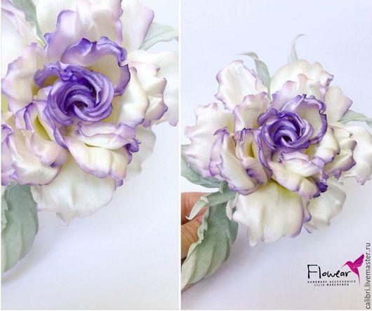 """Заколки ручной работы. Ярмарка Мастеров - ручная работа. Купить Роза из шелка """"Виола"""" - заколка-брошь. Цветы из шелка.. Handmade."""