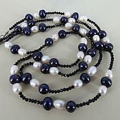 Украшения handmade. Livemaster - original item Beads of genuine freshwater pearls and black spinel. Handmade.