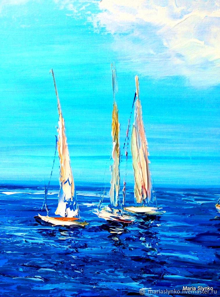 Seascape. Yacht on the Mediterranean sea.