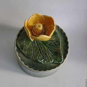 Для дома и интерьера ручной работы. Ярмарка Мастеров - ручная работа шкатулка Кувшинка (1) Керамика. Handmade.