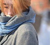Шарф снуд, шарф-труба синий джинс и серый весенний