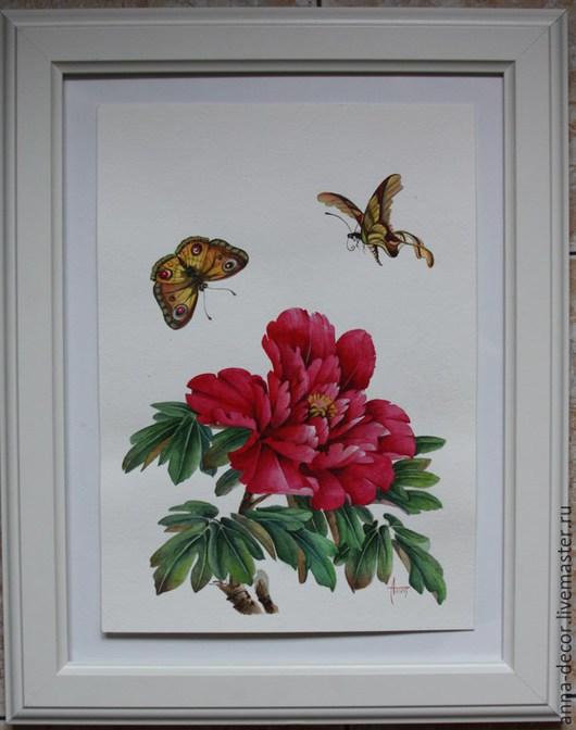 """Картины цветов ручной работы. Ярмарка Мастеров - ручная работа. Купить Картина """"Красный пион и бабочки"""". Handmade. Акварель, цветы"""