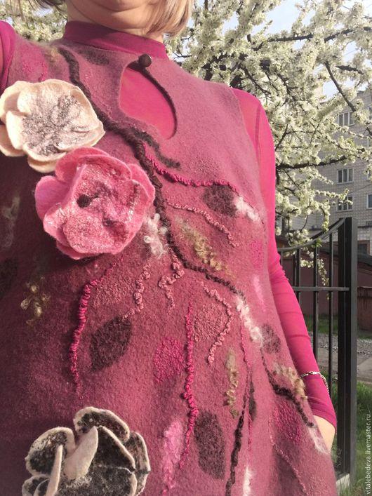 """Платья ручной работы. Ярмарка Мастеров - ручная работа. Купить Валяное Платье сарафан балон """"Японская сакура """" ручная работа. Handmade."""