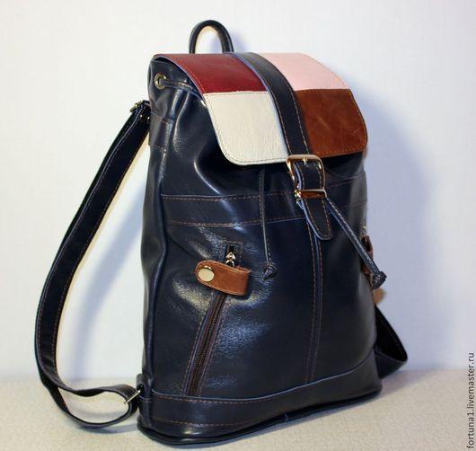 Рюкзаки ручной работы. Ярмарка Мастеров - ручная работа. Купить Рюкзак кожаный городской 27. Handmade. Тёмно-синий