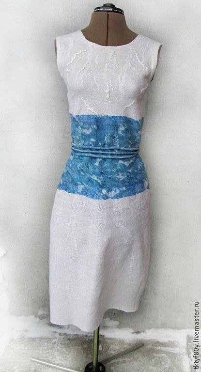 Платья ручной работы. Ярмарка Мастеров - ручная работа. Купить Платье валяное. Handmade. Белый, платье войлок, шёлк натуральный