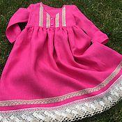 Одежда handmade. Livemaster - original item Linen dress with lace trim
