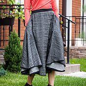 Одежда ручной работы. Ярмарка Мастеров - ручная работа V_027 Юбка-солнце с карманами, с отделкой из кружева, цвет серый. Handmade.