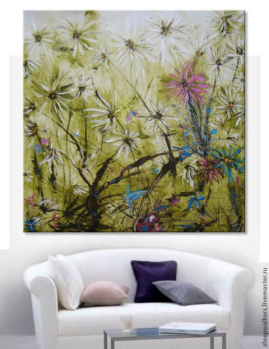 """Картины цветов ручной работы. Ярмарка Мастеров - ручная работа. Купить """"Дикий сад"""" 140х140 см очень большая картина маслом мастихином цветы. Handmade."""