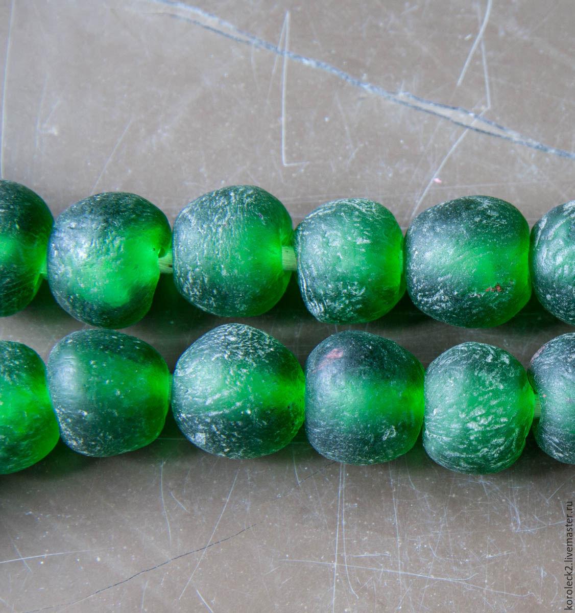 Африканские этнические  крупные ярко-зеленые стеклянные бусины, 20 мм, Бусины, Москва, Фото №1