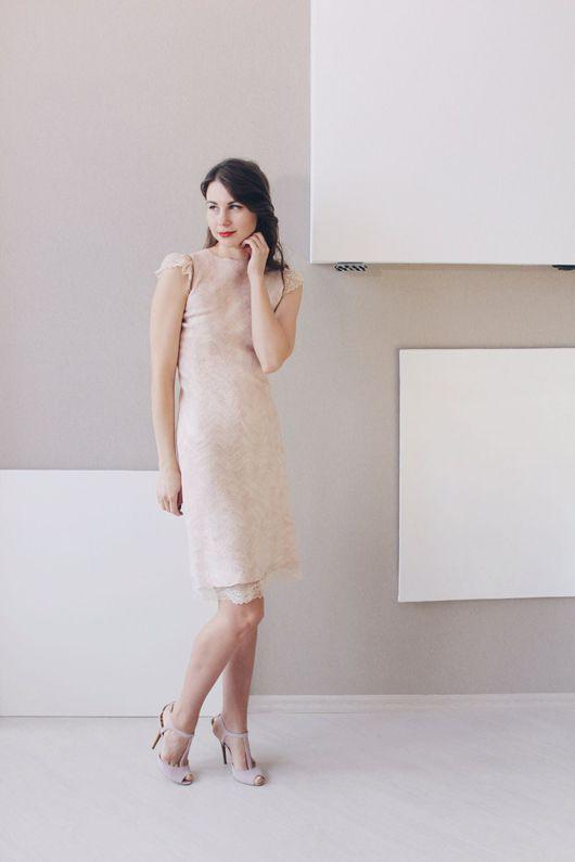 """Платья ручной работы. Ярмарка Мастеров - ручная работа. Купить Валяное платье c кружевом """"Nude Lace"""". Handmade. Мятный"""
