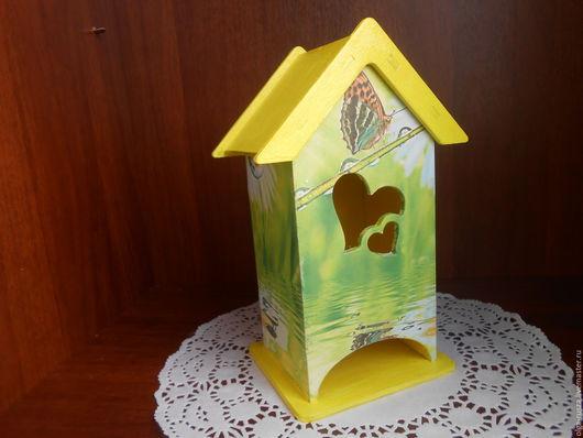 """Кухня ручной работы. Ярмарка Мастеров - ручная работа. Купить Чайный домик """"Бабочка"""".. Handmade. Желтый, домик для чайных пакетов"""
