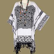 Одежда ручной работы. Ярмарка Мастеров - ручная работа Кельтский узор белая туника платье, батик, свободный трапеция летний. Handmade.