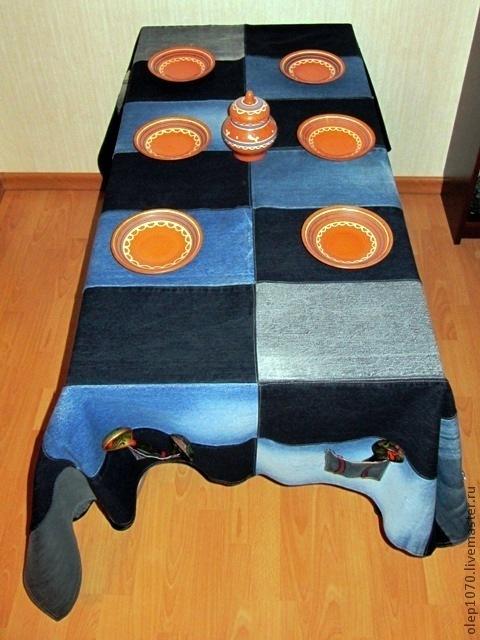 Текстиль, ковры ручной работы. Ярмарка Мастеров - ручная работа. Купить Джинсовая скатерть. Handmade. Скатерть, скатерть для дачи
