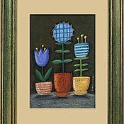 """Картины ручной работы. Ярмарка Мастеров - ручная работа Картина пастелью """"Синие цветы"""". Handmade."""