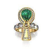 Украшения handmade. Livemaster - original item The ring is an Ankh gold 585, emerald, diamonds. Handmade.