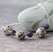 Украшения handmade. Livemaster - original item mini necklace with amethyst, peridot and beads lampwork