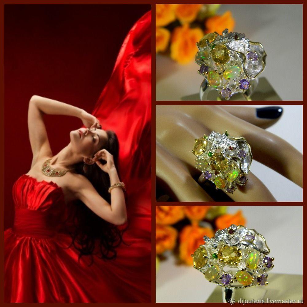 Ring Opal, Citrine, Amethysts, Chromdioxid, Rings, Saratov,  Фото №1