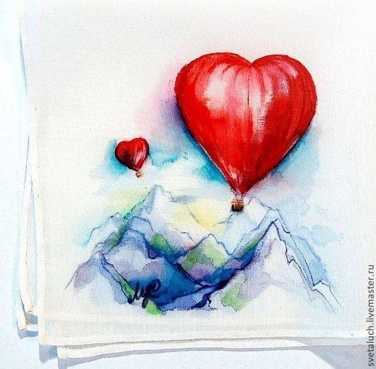 Носовые платочки ручной работы. Ярмарка Мастеров - ручная работа. Купить Выше гор............. Handmade. Рисунок, сердце, носовой платочек