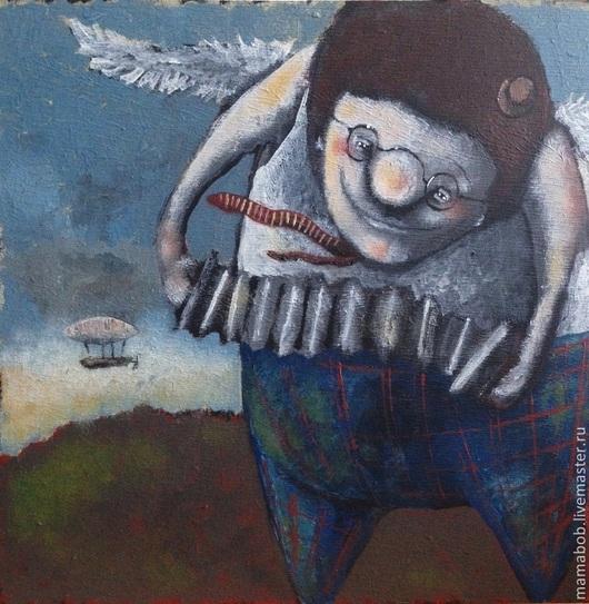 Фантазийные сюжеты ручной работы. Ярмарка Мастеров - ручная работа. Купить Шансонье. Handmade. Синий, Шансон, песня, музыка, ангел