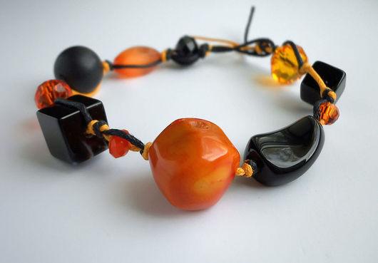 """Браслеты ручной работы. Ярмарка Мастеров - ручная работа. Купить Браслет """"Citrus"""" с кораллом, агатом.. Handmade. Браслет, оранжевый, коралл"""