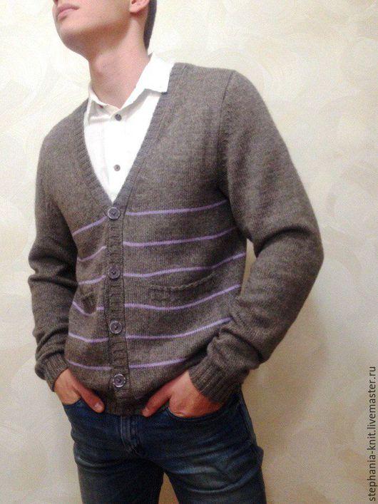Для мужчин, ручной работы. Ярмарка Мастеров - ручная работа. Купить Кардиган вязанный мужской 46-48 р  из альпаки с шелком. Handmade.