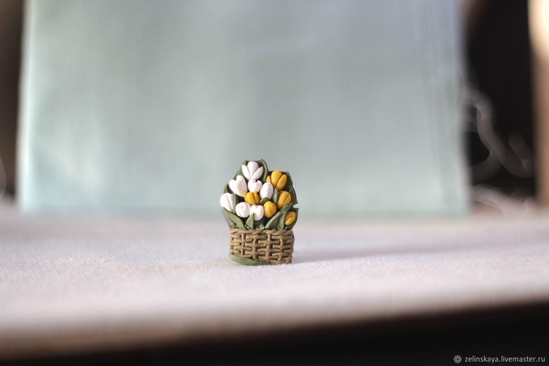 Тюльпаны в корзинке. Брошь, Подарки на 8 марта, Иркутск,  Фото №1