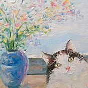 Картины и панно ручной работы. Ярмарка Мастеров - ручная работа Картина. Котик и цветы в синей вазочке.. Handmade.