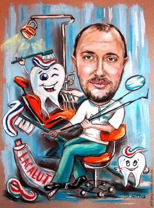 Шарж для стоматолога 30х40 см Пастель, бумага Ручная работа Шарж на заказ Портретный шарж с сюжетом