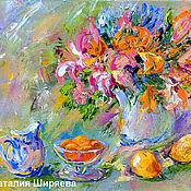 """Картины и панно ручной работы. Ярмарка Мастеров - ручная работа Картина """"Лилии и Абрикосовое Варенье"""" - натюрморт с цветами маслом. Handmade."""