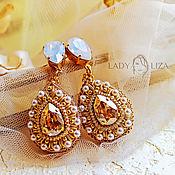 Свадебный салон handmade. Livemaster - original item Wedding earrings with Swarovski crystals and beads. Handmade.