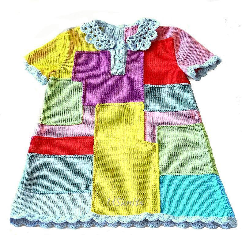 Crocheted baby dress multi-Colored rectangles