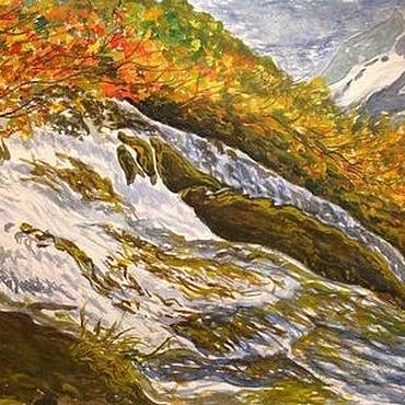 Картины и панно ручной работы. Ярмарка Мастеров - ручная работа Чучхурский водопад. Handmade.