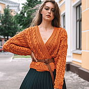 Одежда handmade. Livemaster - original item Jackets: Women`s knitted jacket made of brick-colored cotton. Handmade.