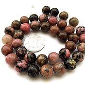 Материалы для творчества ручной работы. Ярмарка Мастеров - ручная работа Родонит 38 камней набор бусины розовый и черный гладкий шар 10 мм. Handmade.