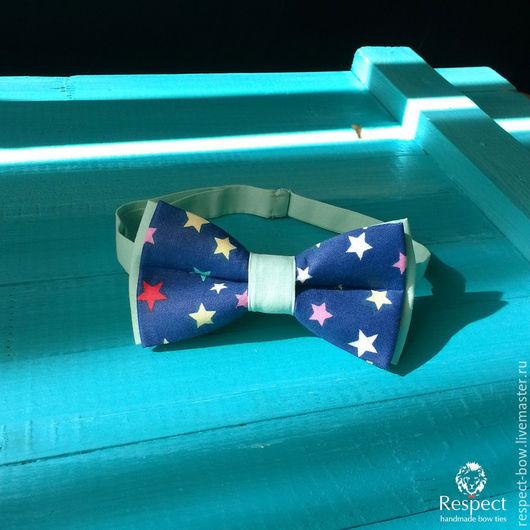 Галстуки, бабочки ручной работы. Ярмарка Мастеров - ручная работа. Купить Галстук бабочка Мириада / темно синяя бабочка галстук со звездами. Handmade.
