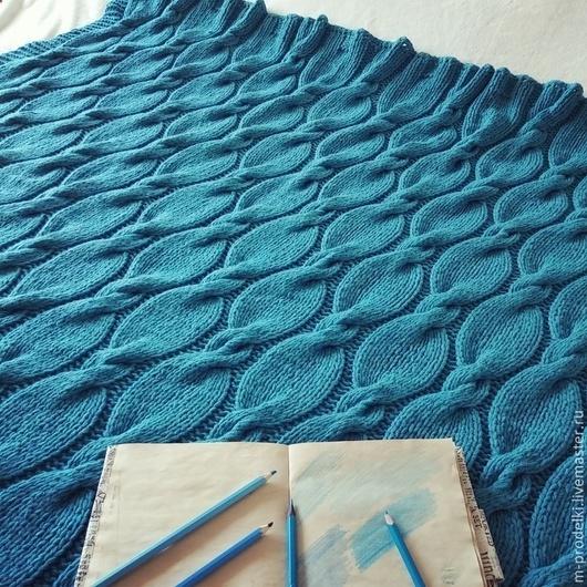 """Текстиль, ковры ручной работы. Ярмарка Мастеров - ручная работа. Купить Вязаный плед """"Turquoise-Бирюза"""". Handmade. Тёмно-бирюзовый"""