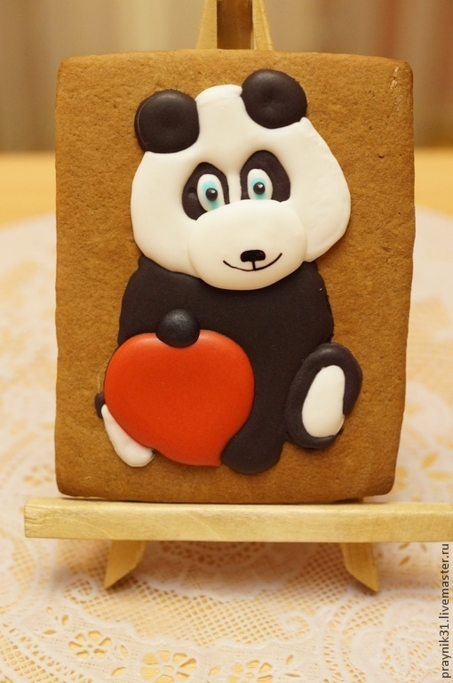 Подарки для влюбленных ручной работы. Ярмарка Мастеров - ручная работа. Купить Панда и сердце. Handmade. Пряник, пряничная открытка, влюбленные