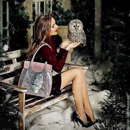 """Женские сумки ручной работы. Ярмарка Мастеров - ручная работа. Купить Замшевая сумка """"Сны совы"""". Handmade. Розовый, стекло"""