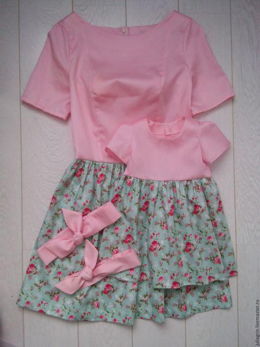 Платья ручной работы. Ярмарка Мастеров - ручная работа. Купить платья мама-дочь. Handmade. Комбинированный, платье летнее
