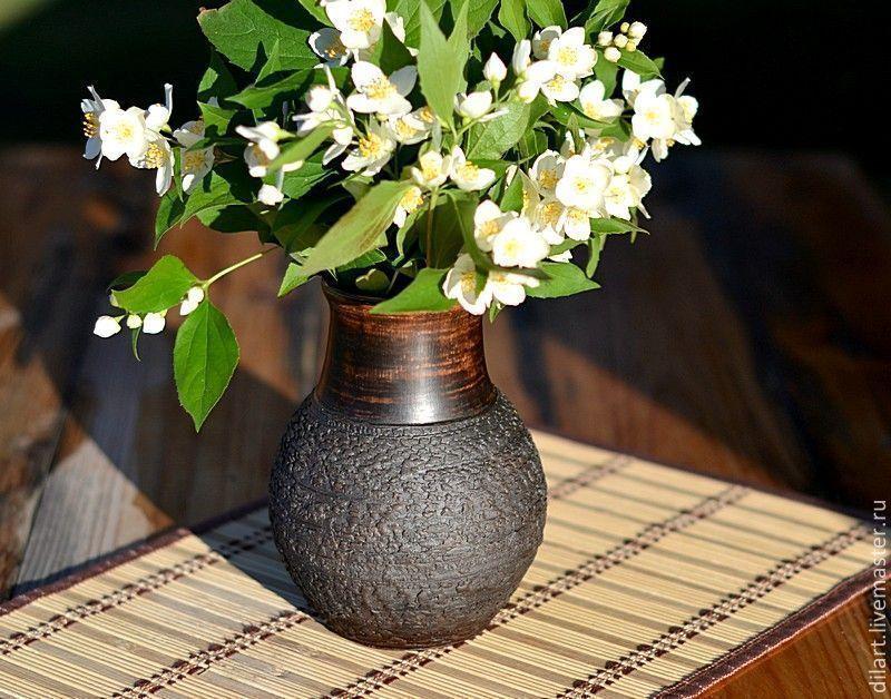 Ваза  для цветов глиняная крынка Любимая