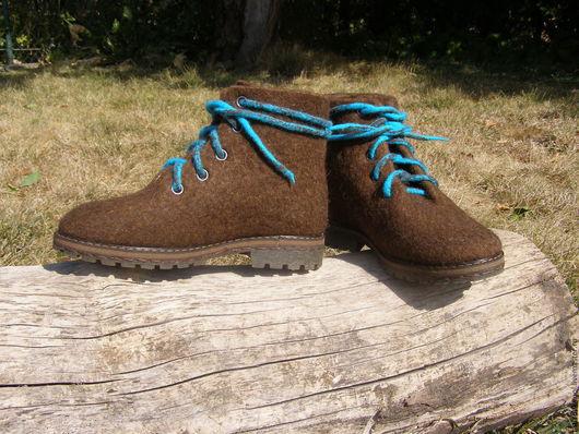 """Обувь ручной работы. Ярмарка Мастеров - ручная работа. Купить Ботинки валяные """"Ботинки:)"""". Handmade. Коричневый, обувь, валенки для улицы"""