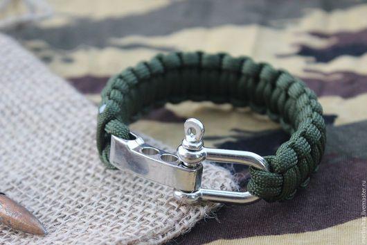 """Браслеты ручной работы. Ярмарка Мастеров - ручная работа. Купить Тактический браслет из паракорда """"Тайга"""". Handmade. Тёмно-зелёный, охота"""