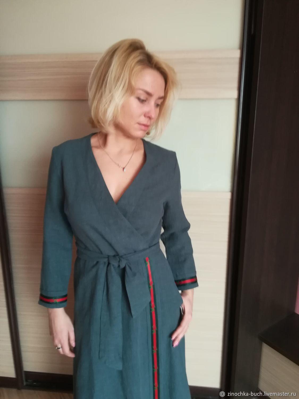 584f6ce8138 Ярмарка Мастеров - ручная работа. Купить Платье с запахом из вареной Платья  ручной работы. Платье с запахом из вареной крапивы с тесьмой Элегантность.  ...