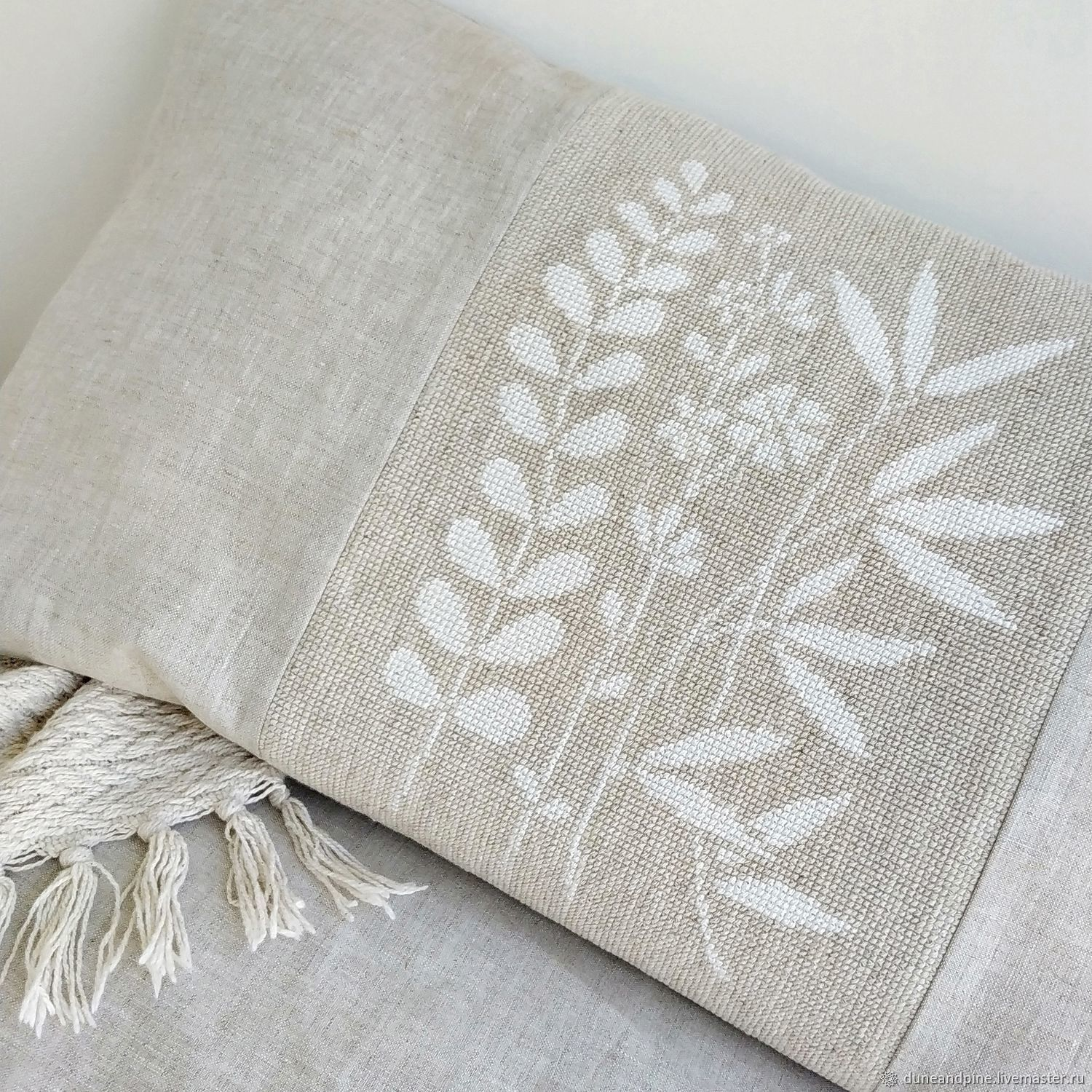 Decorative pillowcase for pillows 'Botany' linen embroidery, Pillow, St. Petersburg,  Фото №1