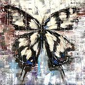 Открытки ручной работы. Ярмарка Мастеров - ручная работа Открытка с Бабочкой на бежевом фоне. Handmade.