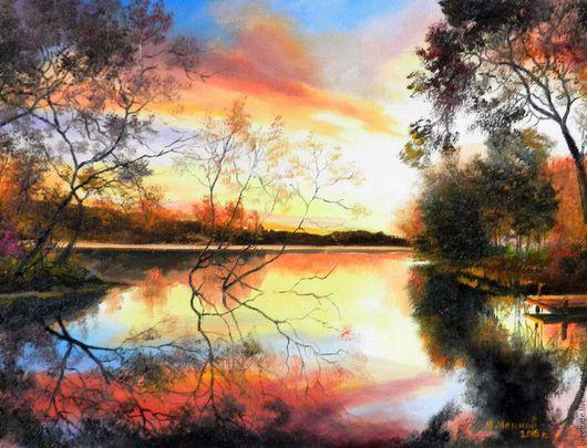 Ярмарка мастеров, картина маслом на холсте,осенний пейзаж,закат,для интерьера,яркие краски,закат,авторская работа
