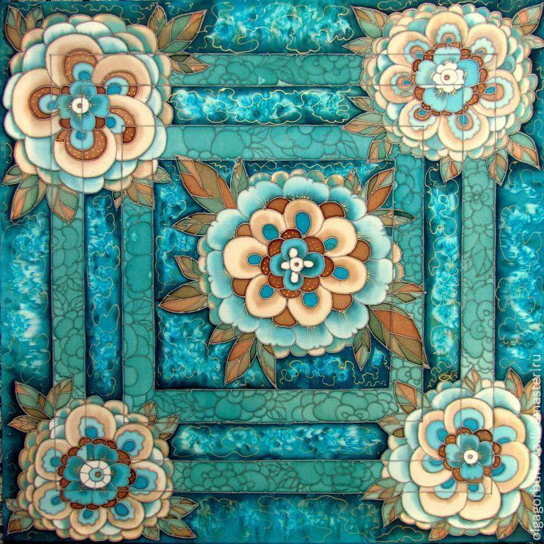 Batik scarf 'turquoise fantasy', Shawls1, Yaroslavl,  Фото №1