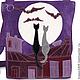 """Женские сумки ручной работы. Сумка """"Коты на крыше и летучие мыши"""". MAРOBAGS. Интернет-магазин Ярмарка Мастеров. Рисунок"""